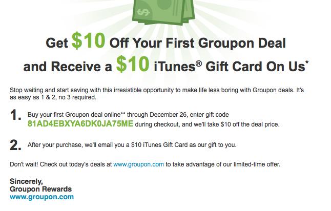 Groupon $10 Credit