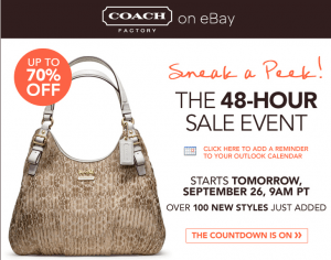 Hot Ebay Fashion Vault 70 Off Coach Today At Noon Est Sign Up Now