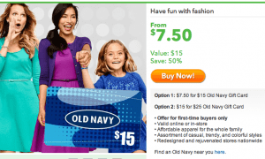 Old Navy Gift Cards at Half Off