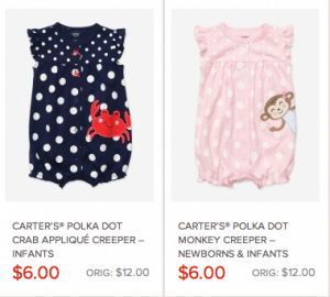 Carter's Polka Dot Creeper outfits for ONLY $6 (reg. $12)