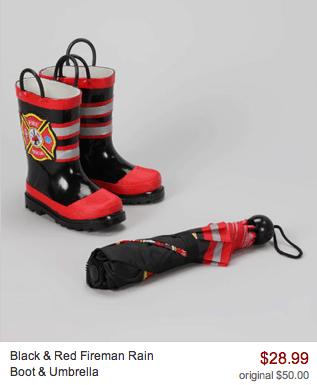 black and red fireman rain bott and umbrella