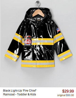 black light up fire chief raincoat