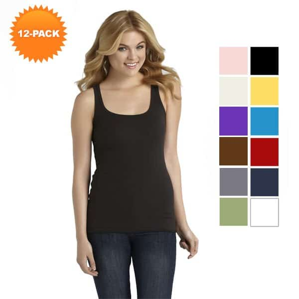 12-Pack Assorted Cotton Ribbed Tank Tops