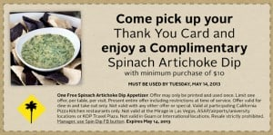 Free Spinach Dip from California Pizza Kitchen