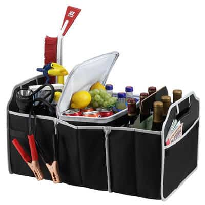 Multi-Compartment Portable Trunk Organizer and Cooler
