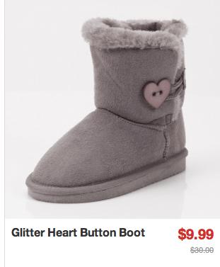 glitter heart button boot