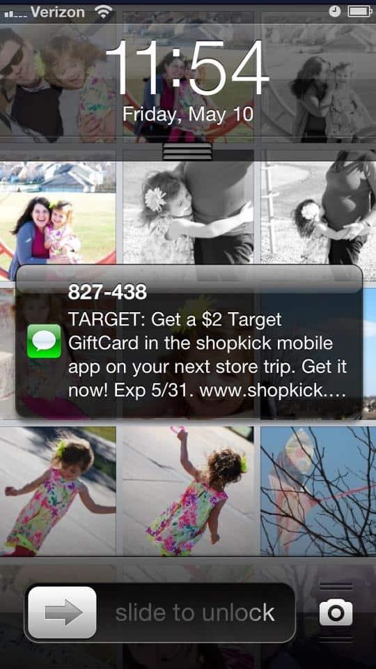 shopkick free $2 gift card target