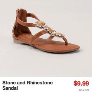 stone and rhinestone sandal