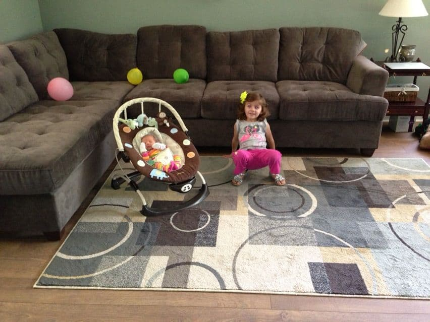 We just came home from the hospital with the new baby and we have a new rug to enjoy as well!