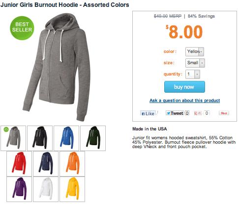 junior girls burnout hoodie