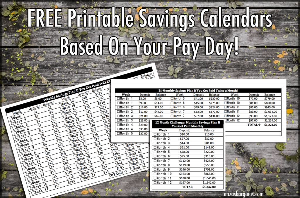 FREE Savings Printable Calendar for your 52 Weeks Savings Based on when you get paid: weekly, monthly, bi-monthly! Awesome IDEA!