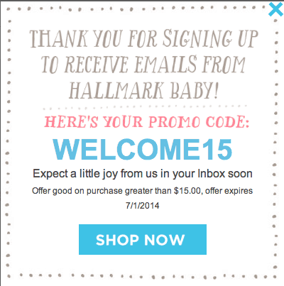 Hallmark Baby $15 Coupon Code to use on any purchase over $15! Be sure to check out the adorable outfits that will be free.