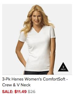3-Pk Hanes Women's ComfortSoft - Crew & V Neck for ONLY $11.49