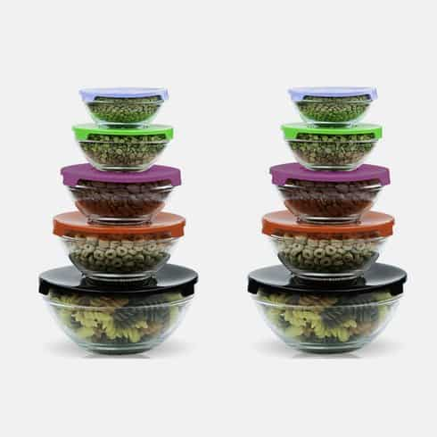 20-Piece Glass Bowls with Multi-Colored Lids ONLY $14.99 (reg. $39.99) Shipping ONLY $3.99!