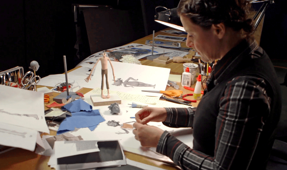 Costume Designer Deborah Cook works on one of Egg's outfits during production of LAIKA and Focus Features' family event movie THE BOXTROLLS, opening nationwide September 26th. Credit:  LAIKA, Inc.
