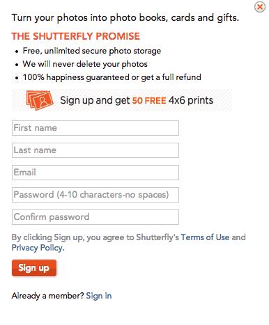 50 FREE Shutterfly Prints