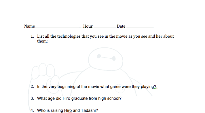 Big Hero 6 Lessons Worksheet
