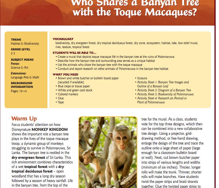 Earth Day Lesson Plans - Disney's Monkey Kingdom