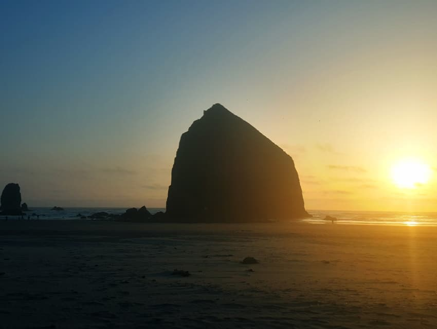 Haystack Rock at sunset in Cannon Beach.
