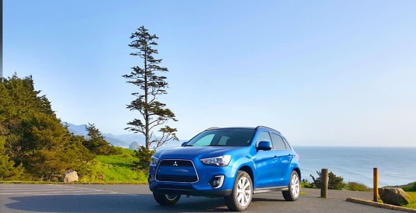 Mitsubishi Outlander Sport from the viewpoint of Cannon Beach in Ecola State Park.