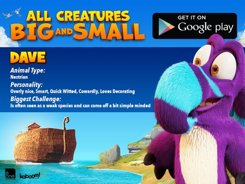 DAVE - All Creatures Big and Small MOVIE - FREE AND FREE Coloring SHEET
