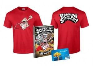 $50 Visa Gift Card, Captain Underpants Book & T-shirt (Ends 9/10)
