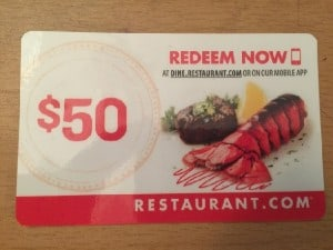 $50 Restaurant.com Gift Card!
