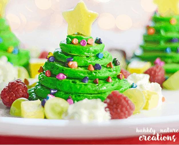 Christmas Tree Pancake Stacks with Almond Flavored Pancakes