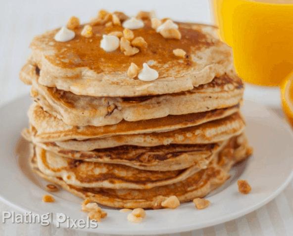 White Chocolate Chip Macadamia Nut Pancakes with Orange Butter