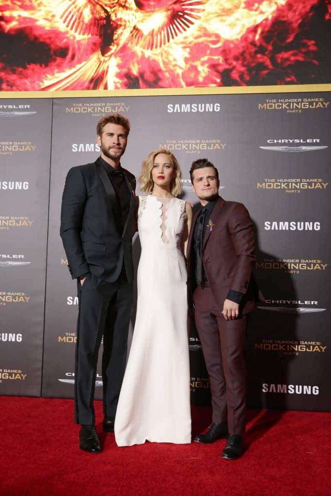 Mockingjay Part 2 Red Carpet Premiere at Microsoft Theater in LA - Liam Hemsworth, Jennifer Lawrence and Josh Hutcherson seen at Los Angeles Premiere of Lionsgate's 'The Hunger Games: Mockingjay - Part 2' on Monday, November 16, 2015, in Los Angeles, CA. (Photo by Eric Charbonneau/Invision for Lionsgate/AP Images)