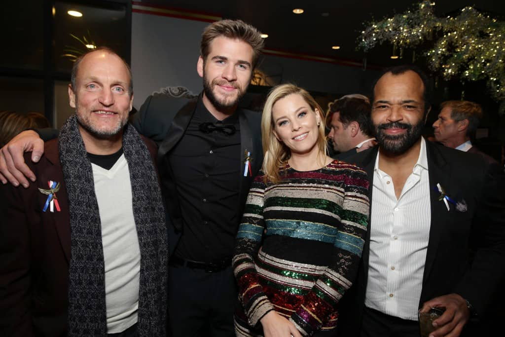Mockingjay Part 2 Red Carpet Premiere at Microsoft Theater in LA Exclusive - Woody Harrelson, Liam Hemsworth, Elizabeth Banks and Jeffrey Wright seen at Los Angeles Premiere of Lionsgate's 'The Hunger Games: Mockingjay - Part 2' on Monday, November 16, 2015, in Los Angeles, CA. (Photo by Eric Charbonneau/Invision for Lionsgate/AP Images)