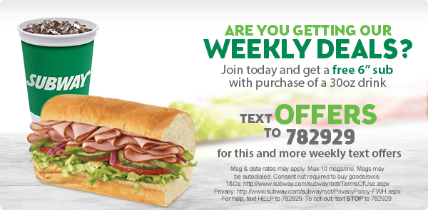 FREE Subway Sub - Text Offer