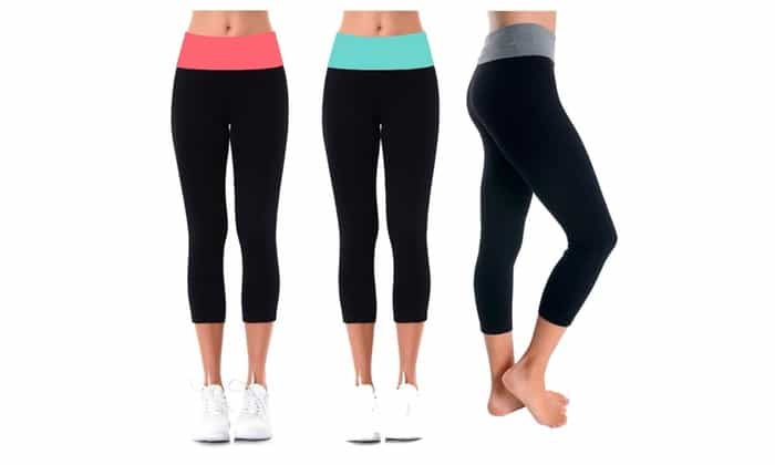 Cute Yoga Pants - Yoga Capris with Bright Waistband