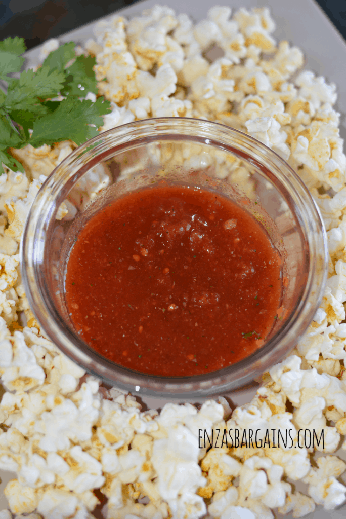 Salsa with Popcorn Snack