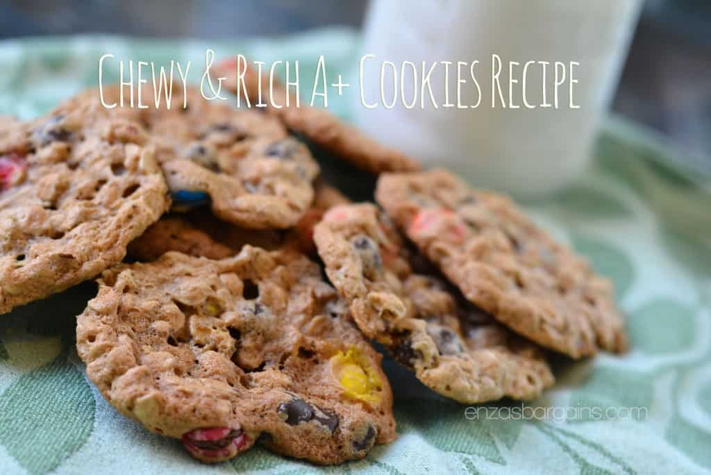 A+ Cookies Recipe - Peanut Butter, Oats, M&Ms, and Chocolate Chip Flourless Cookies!