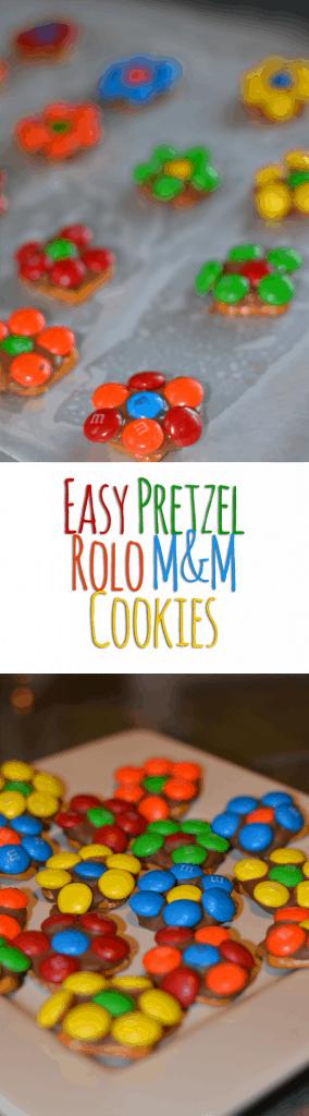 Pretzel Rolo M&M Flower Cookies!