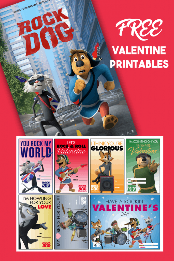 Rock Dog FREE Valentine Printable Cards:
