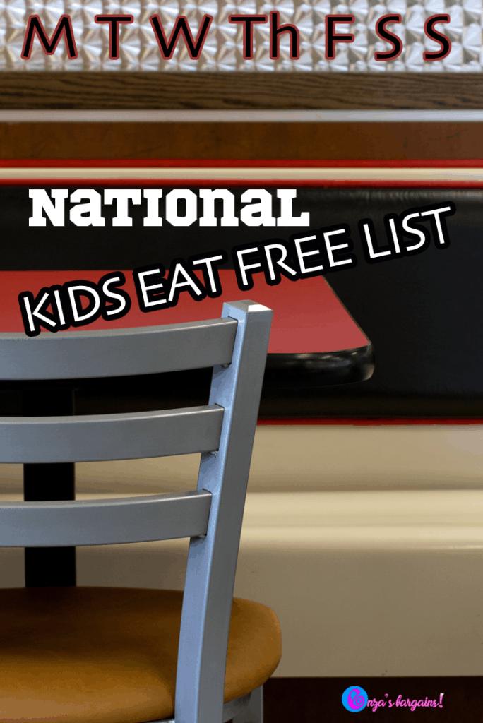National Kids Eat Free Deals