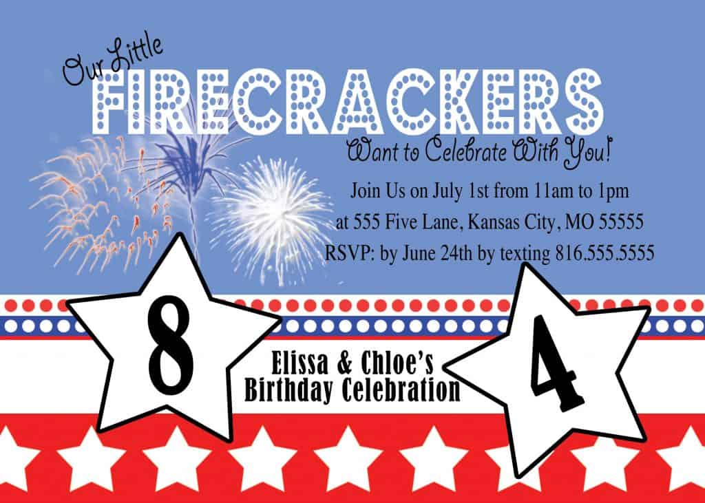 American Themed Birthday Party - Invitation Idea