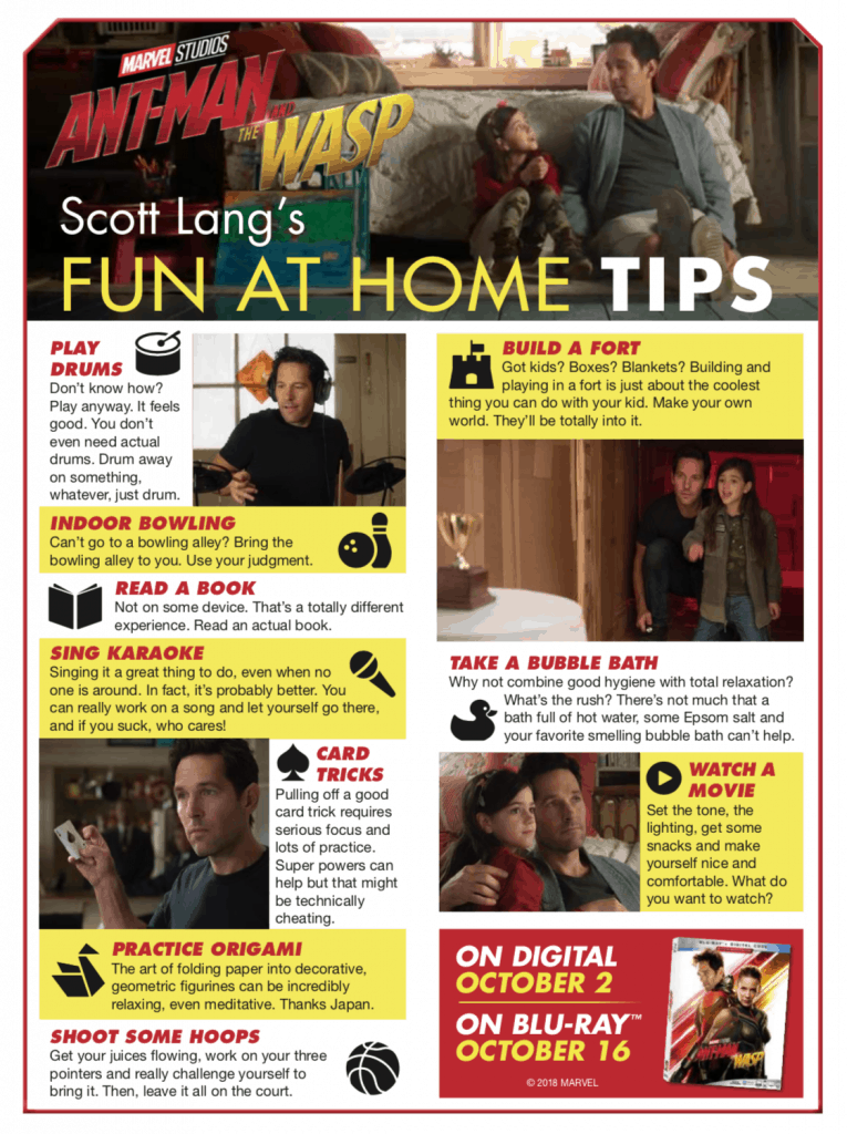 Ant Man & The Wasp's Scott Lang's Fun At Home Tips