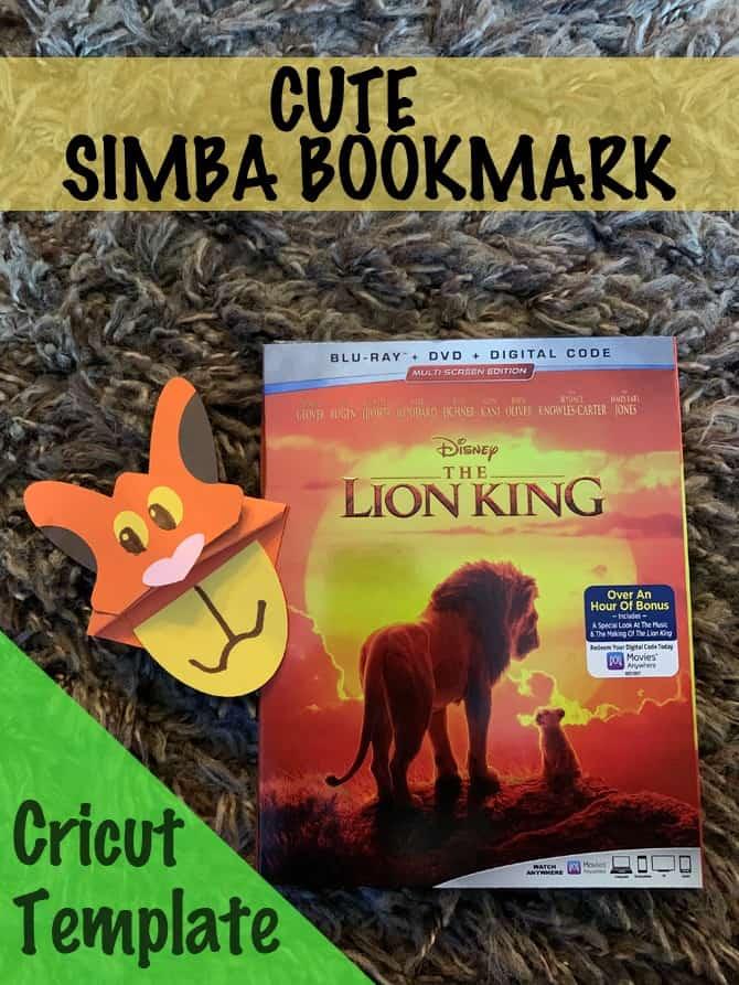 Lion King Simba Bookmark Cricut Craft & Giveaway