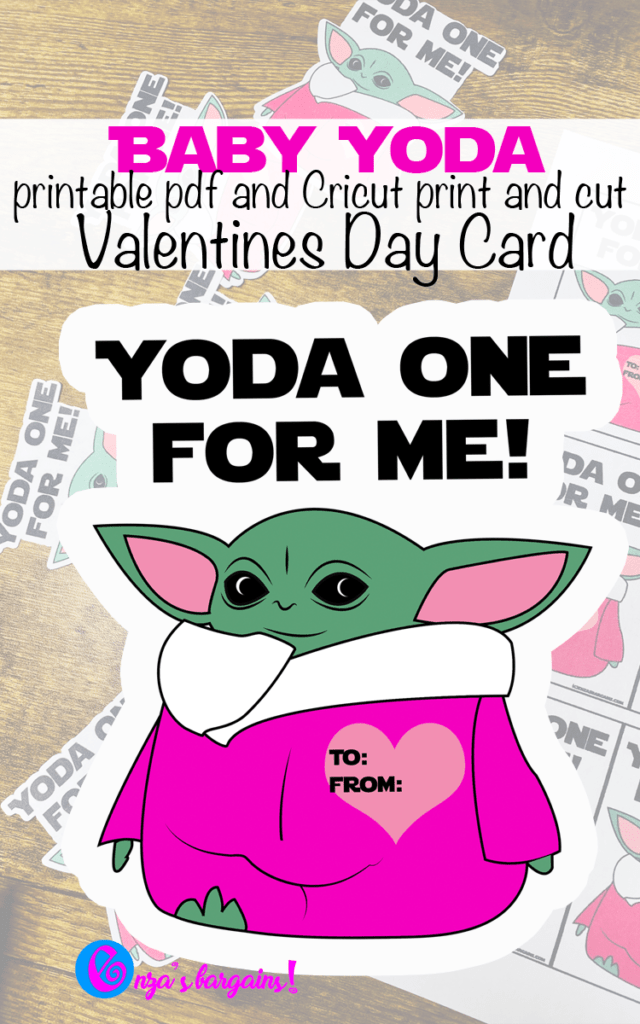 Baby Yoda Valentine's Day Cards - Print and Cut