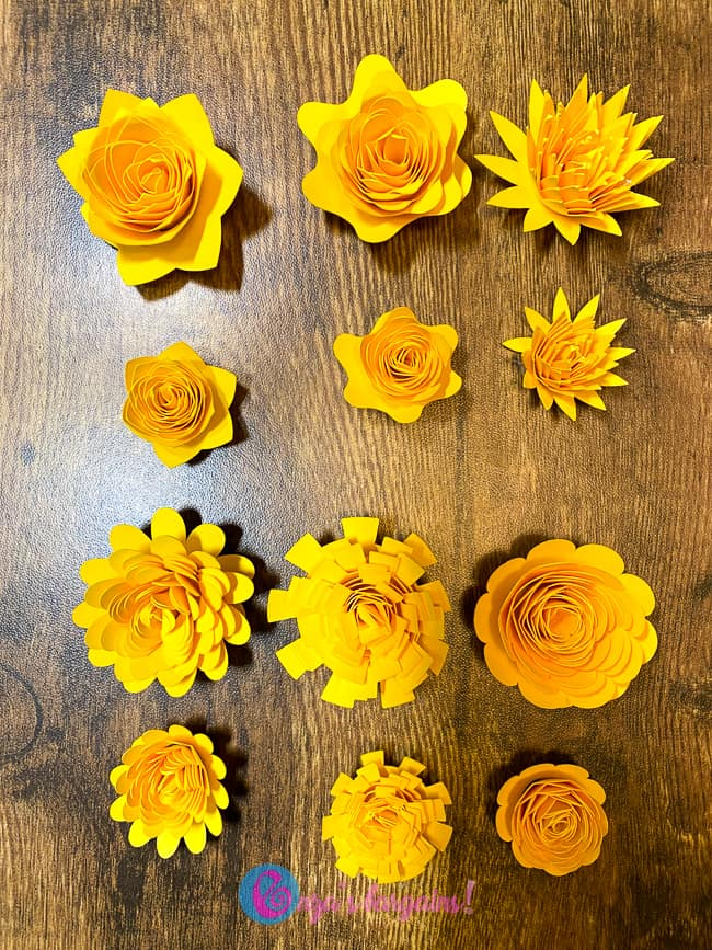Cricut Paper Flowers sizes