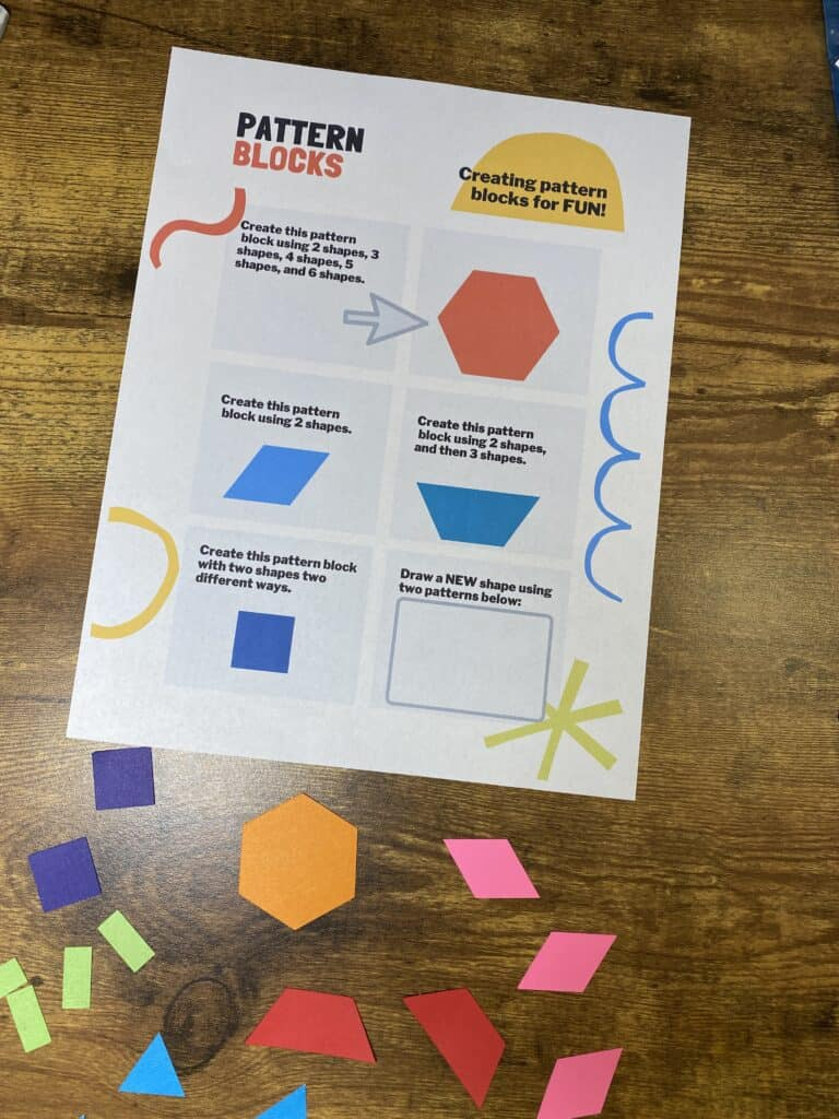 Free Cricut Pattern Blocks - Lesson Plan and Worksheet