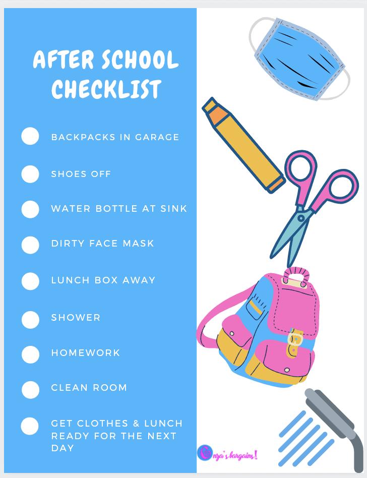 After School Checklist Post Covid-19 - Printable