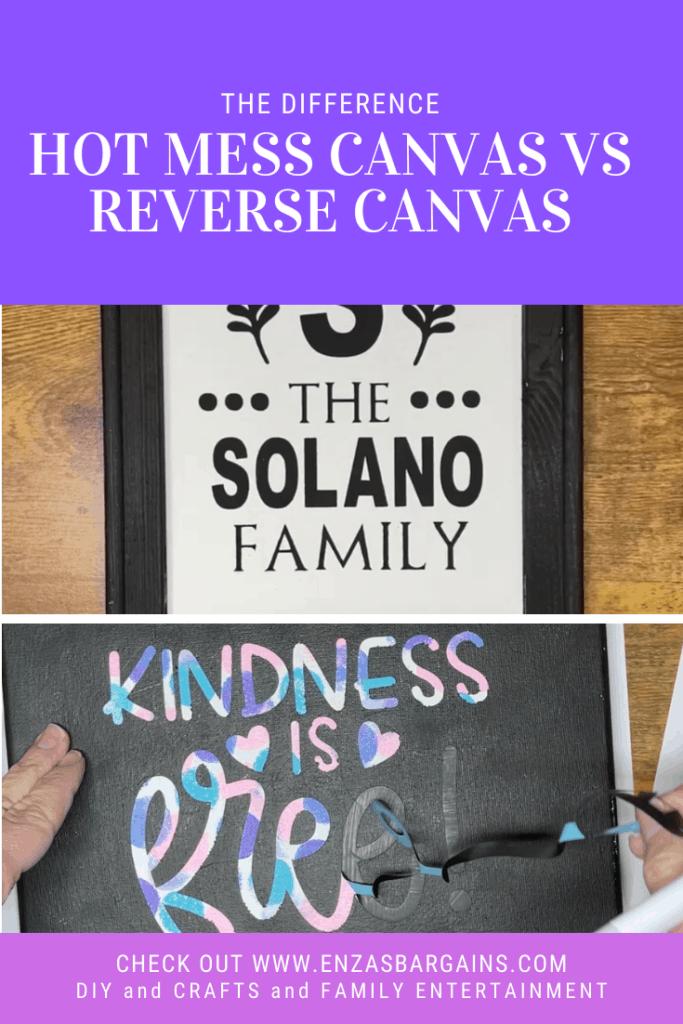 Cricut Hot Mess Canvas vs Reverse Canvas