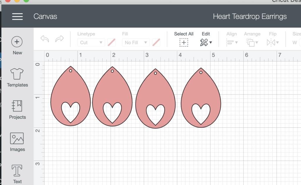 Design Space Cricut Heart Teardrop Earrings