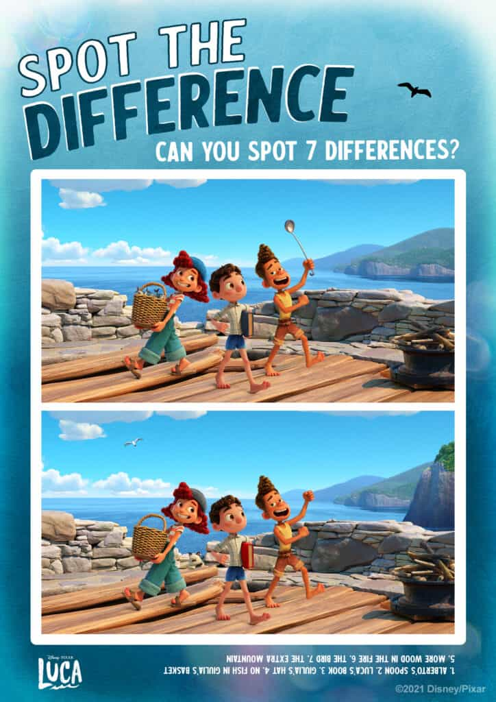 Spot the Difference Pixar Luca Activity